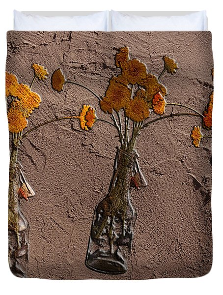 Orange Flowers Embedded In Adobe Duvet Cover by Don Gradner