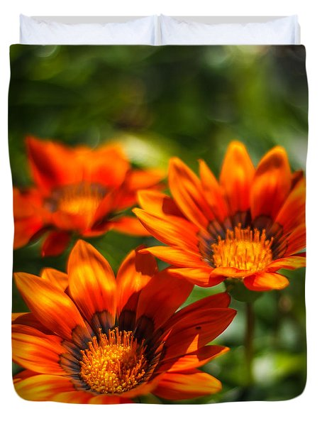 Duvet Cover featuring the photograph Orange Flowers by Jane Luxton