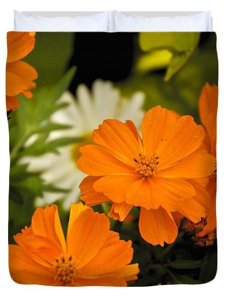 Orange Flowers Duvet Cover