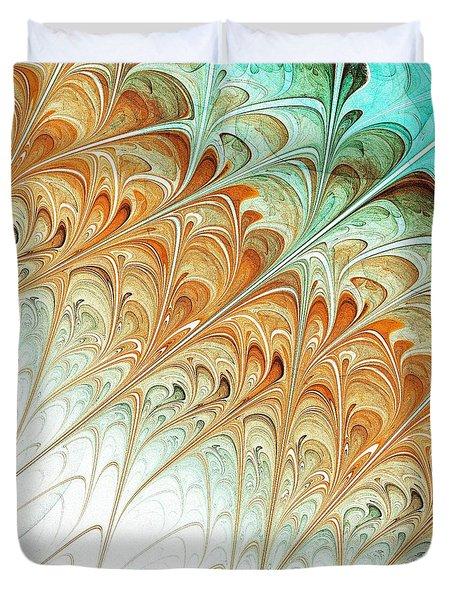 Orange Folium Duvet Cover by Anastasiya Malakhova