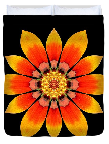 Orange Gazania I Flower Mandala Duvet Cover