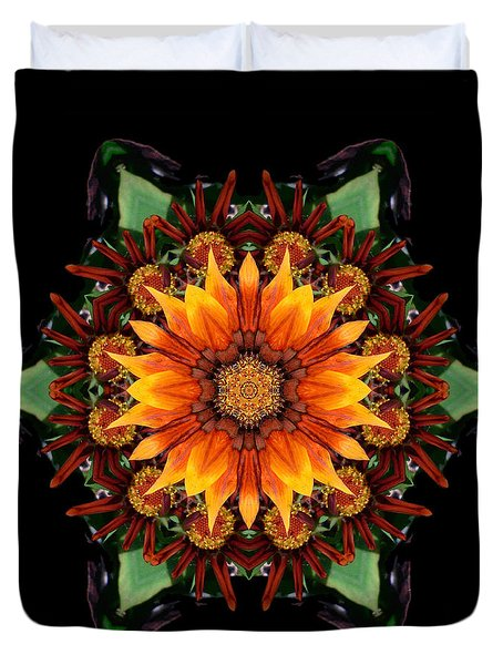 Orange Gazania IIi Flower Mandala Duvet Cover