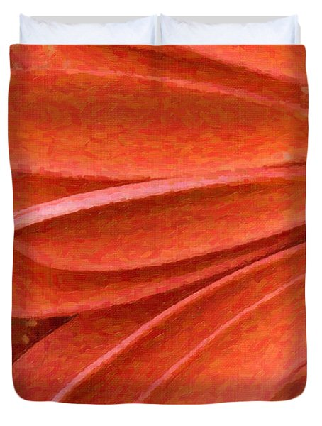 Orange Gerber Daisy Painting Duvet Cover