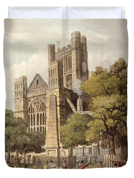 Orange Grove, From Bath Illustrated Duvet Cover by John Claude Nattes