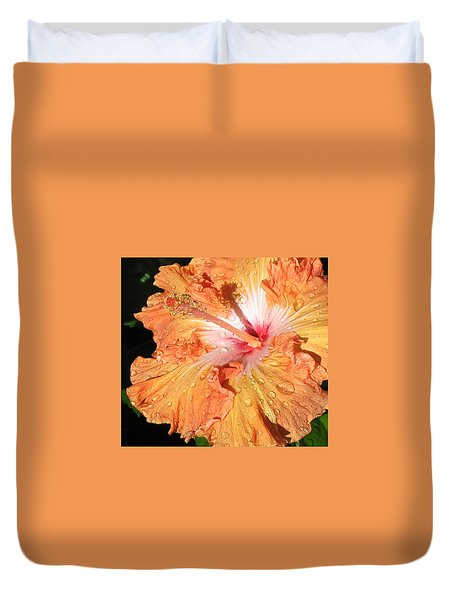 Duvet Cover featuring the photograph Orange Hibiscus After The Rain by Connie Fox