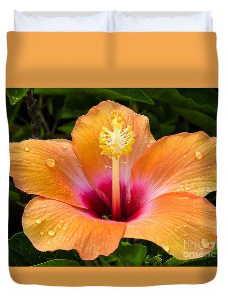 Orange Hibiscus And Dew Drops Duvet Cover