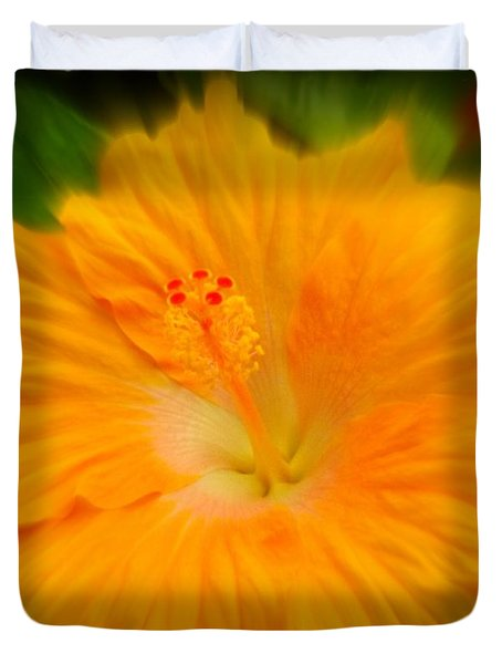 Duvet Cover featuring the photograph Orange Hibiscus Flower by Clare Bevan