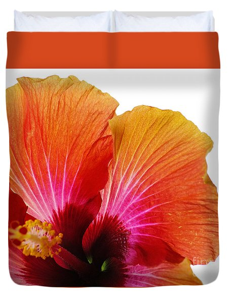 Orange Hibiscus Flower Duvet Cover