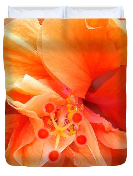 Duvet Cover featuring the photograph Orange Hibiscus by Karen Zuk Rosenblatt