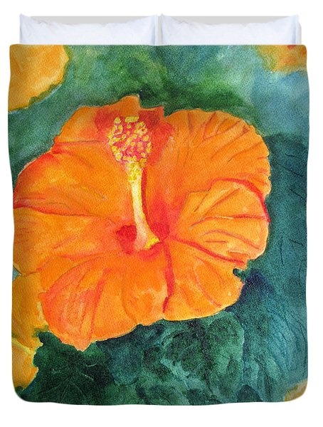 Orange Hibiscus Duvet Cover