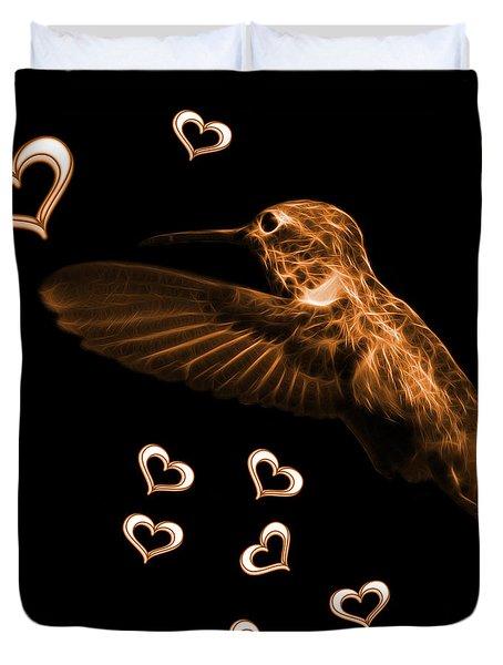 Orange Hummingbird - 2055 F M Duvet Cover