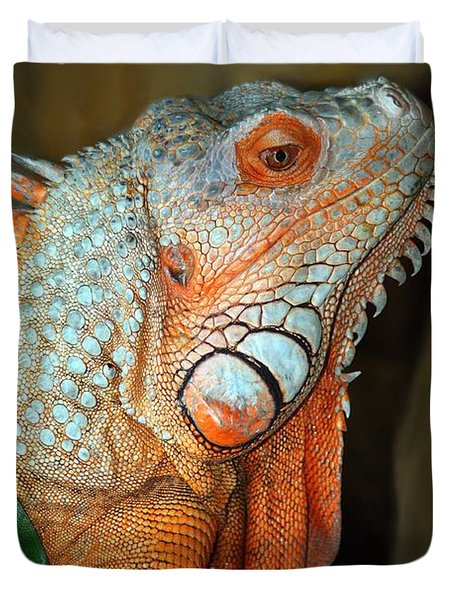 Orange Iguana Duvet Cover