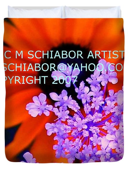 Orange Lavender Flower Duvet Cover by Eric  Schiabor