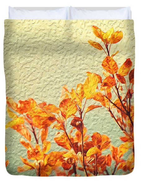 Orange Leaves Duvet Cover by Yew Kwang