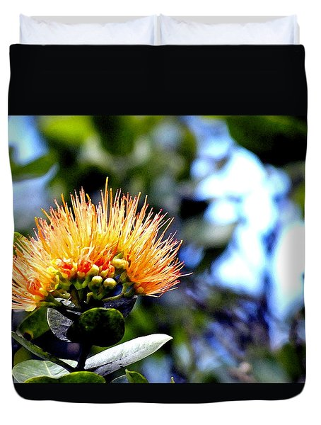 Orange Lehua On Volcano Ranch Duvet Cover