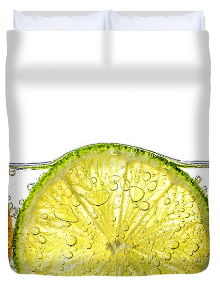 Orange Lemon And Lime Slices In Water Duvet Cover by Elena Elisseeva