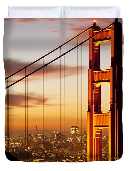 Duvet Cover featuring the photograph Orange Light At Dawn by Brian Jannsen