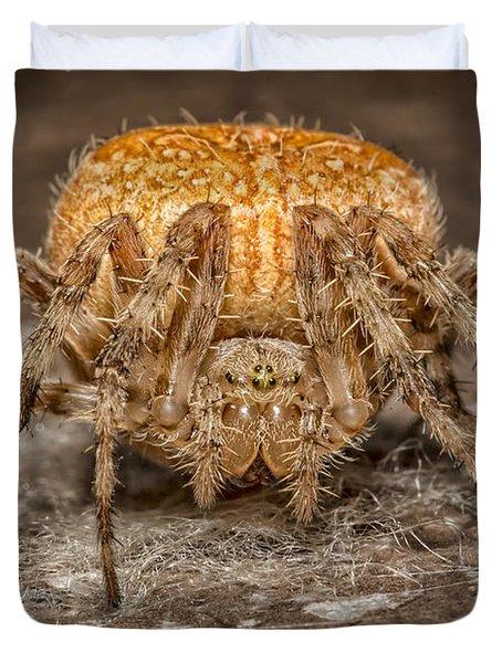 Orange Marbled Orb Weaver Duvet Cover
