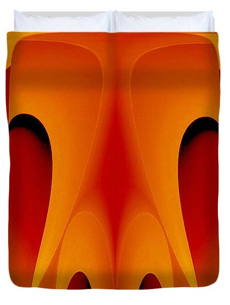 Duvet Cover featuring the mixed media Orange Mask by Rafael Salazar