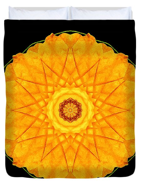 Orange Nasturtium Flower Mandala Duvet Cover