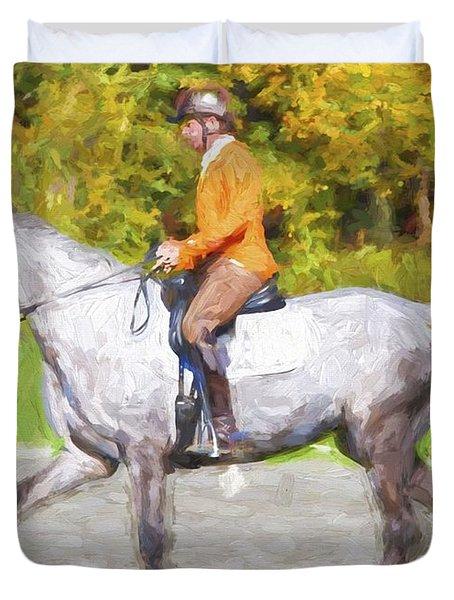 Orange On Gray Duvet Cover