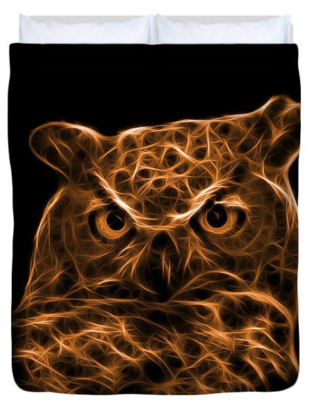 Orange Owl 4436 - F M Duvet Cover by James Ahn