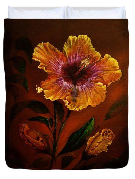 Orange Painted Hibiscus Duvet Cover