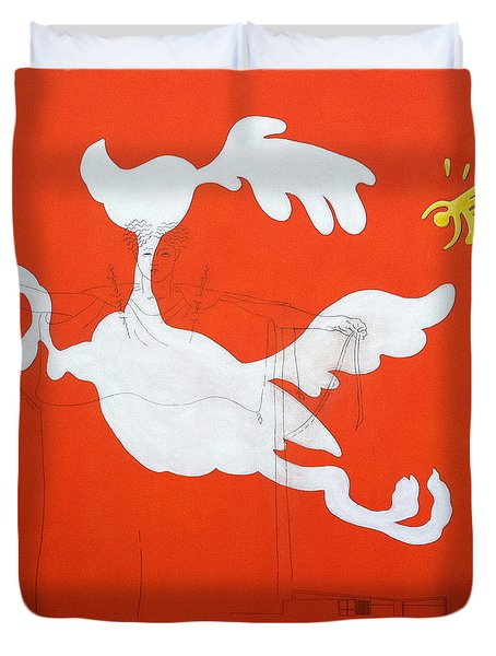 Orange Palm Springs Idyll Duvet Cover