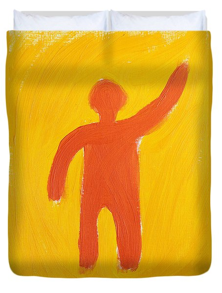 Orange Person Duvet Cover