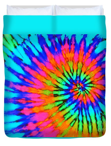 Orange Pink And Blue Tie Dye Spiral Duvet Cover by Catherine Sherman