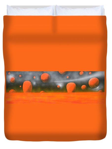 Orange Planet Duvet Cover