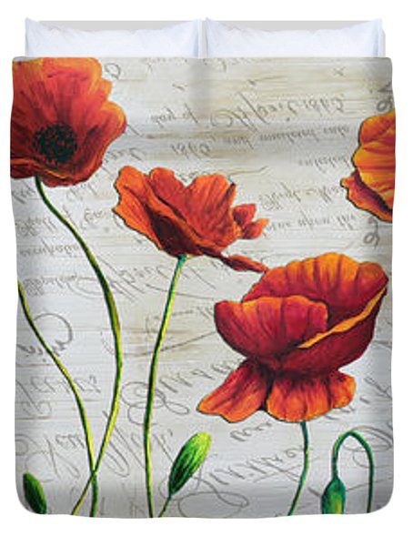 Orange Poppies Original Abstract Flower Painting By Megan Duncanson Duvet Cover by Megan Duncanson