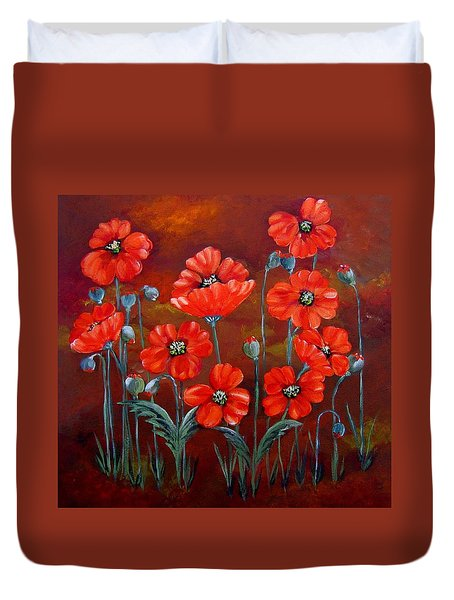 Duvet Cover featuring the painting Orange Poppies by Suzanne Theis