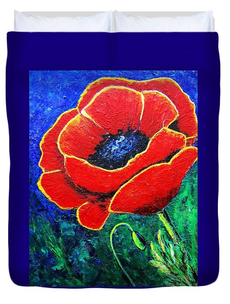 Duvet Cover featuring the painting Orange-red Poppy by Suzanne Theis
