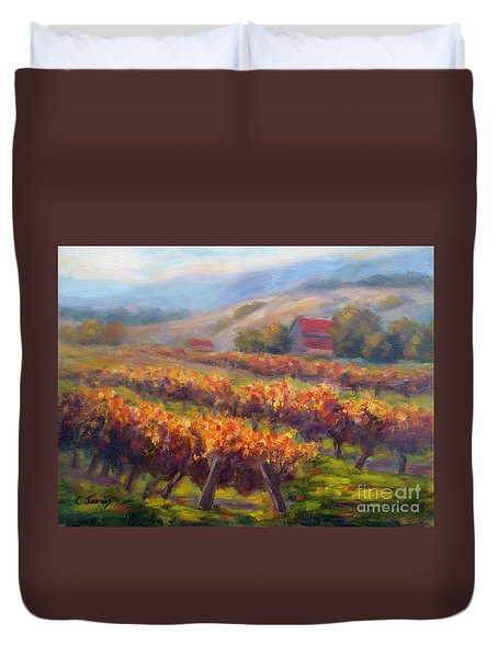 Orange Red Vines Duvet Cover