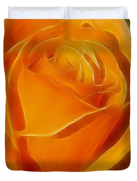 Orange Rose 6291-fractal Duvet Cover by Gary Gingrich Galleries