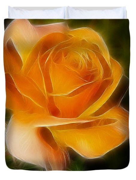 Orange Rose 6292-fractal Duvet Cover by Gary Gingrich Galleries