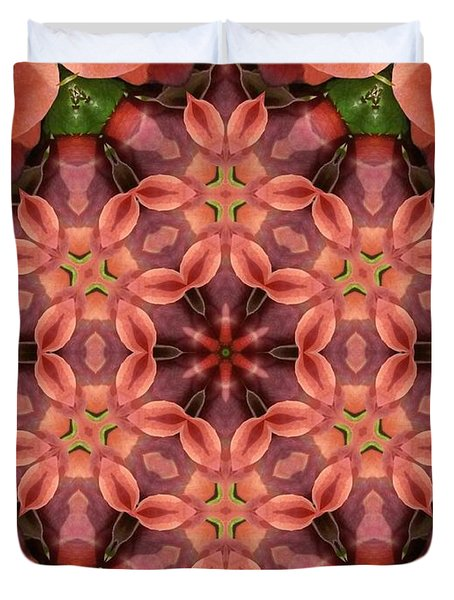 Orange Rose Mandala Duvet Cover