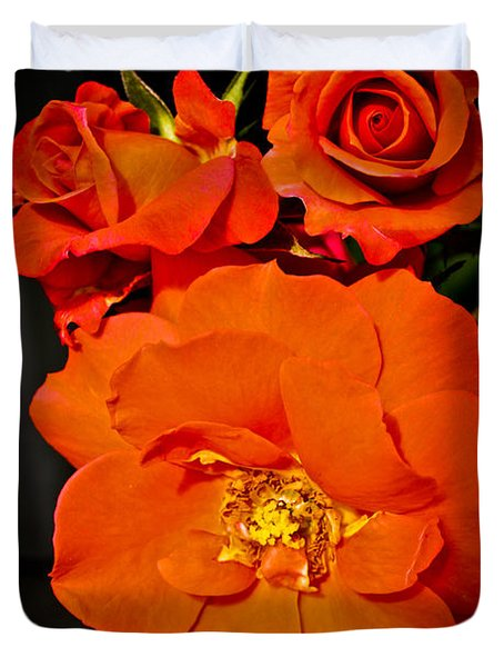Duvet Cover featuring the photograph Orange Rose Trio by Joann Copeland-Paul