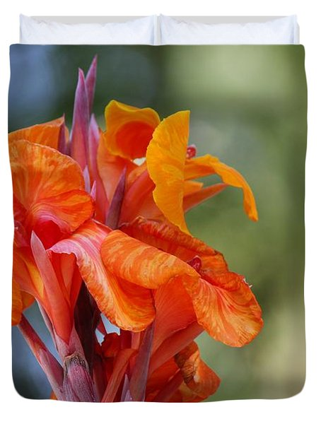 Orange Ruffled Beauty Duvet Cover