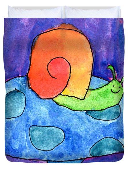 Orange Snail Duvet Cover by Nick Abrams Age Twelve