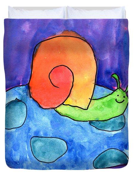Orange Snail Duvet Cover