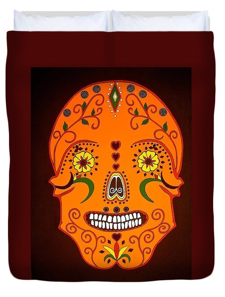 Orange Sugar Skull Duvet Cover by Stephanie Moore