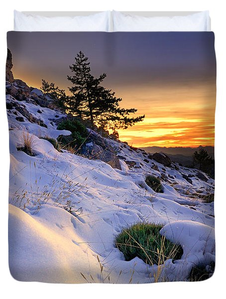 Orange Sunset At The Mountains Duvet Cover by Guido Montanes Castillo