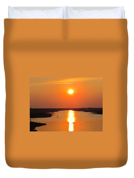 Duvet Cover featuring the photograph Orange Sunset by Cynthia Guinn