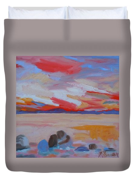 Duvet Cover featuring the painting Orange Sunset by Francine Frank