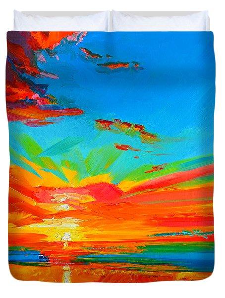 Orange Sunset Landscape Duvet Cover