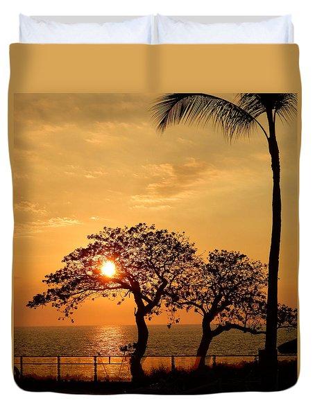 Orange Sunset Duvet Cover by Pamela Walton
