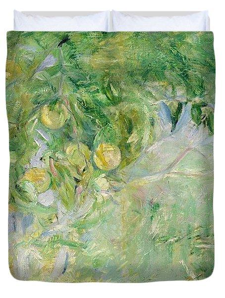 Orange Tree Branches Duvet Cover by Berthe Morisot