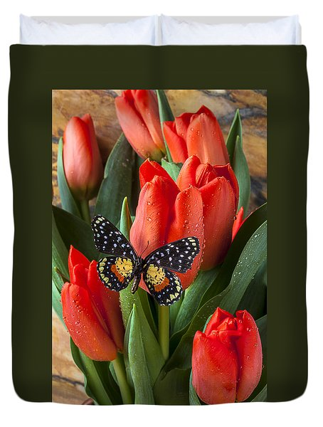 Orange Tulips And Butterfly Duvet Cover by Garry Gay